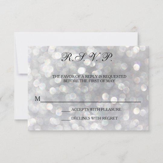 Elegant Silver Lights Wedding Response Cards Rsvp