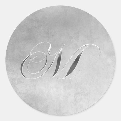 Elegant Silver look Monogram Sticker