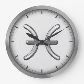Elegant Silver Luxury Pisces Zodiac Symbol | Round Wall Clock