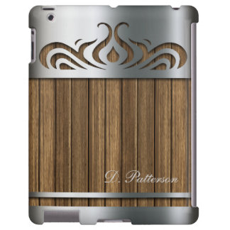 Elegant Silver Metal Cutout with Brown Barnwood