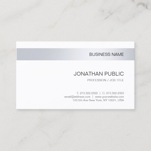 Elegant Silver Modern Company Minimalist Template Business Card