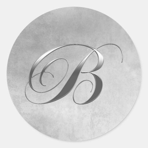 Elegant Silver Monogram B Round Sticker