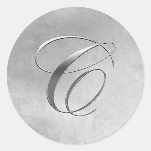 Elegant Silver Monogram C Sticker