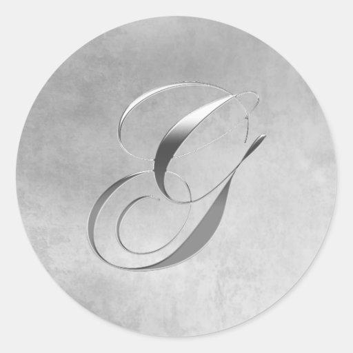 Elegant Silver Monogram G Sticker