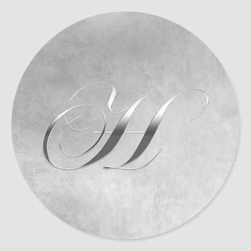 Elegant Silver Monogram H Sticker