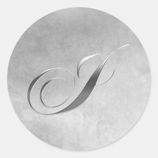 Elegant Silver Monogram I Sticker