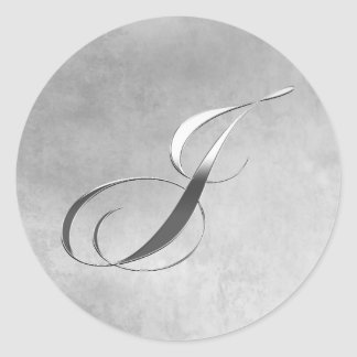 Elegant Silver Monogram J Custom Wedding Stickers