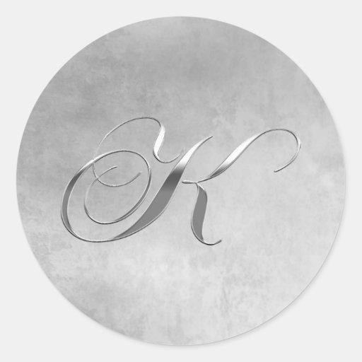 Elegant Silver Monogram K Round Stickers