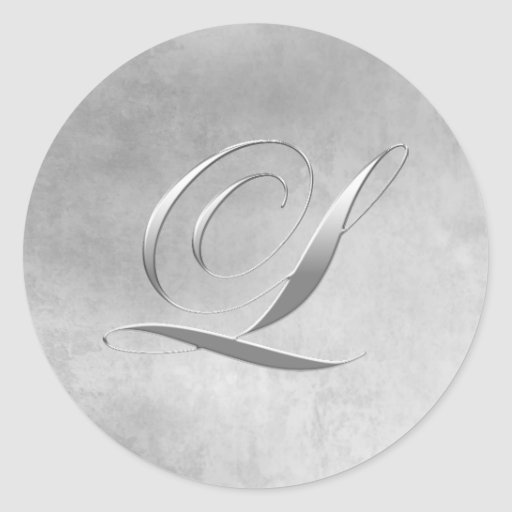 Elegant Silver Monogram L Sticker