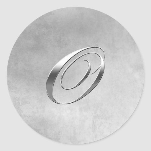 Elegant Silver Monogram O Sticker