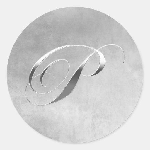 Elegant Silver Monogram P Custom Wedding Stickers