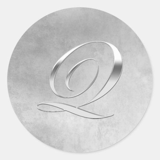 Elegant Silver Monogram Q Customizable Sticker