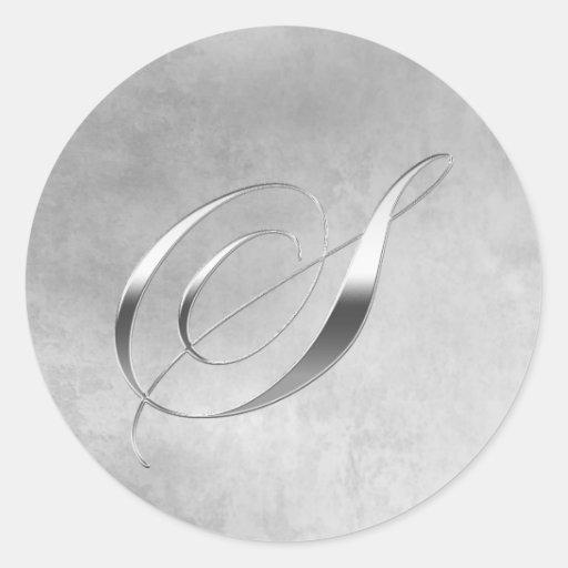 Elegant Silver Monogram S Sticker