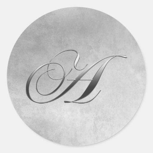 Elegant Silver Monogram Round Stickers