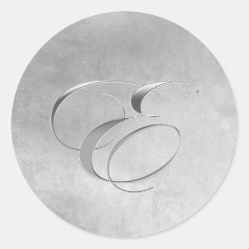 Elegant Silver Monogram Sticker