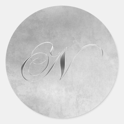 Elegant Silver Monogram Sticker N