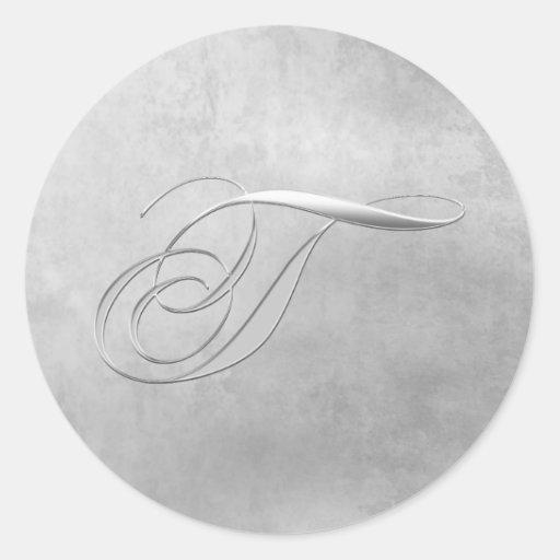 Elegant Silver Monogram T Sticker