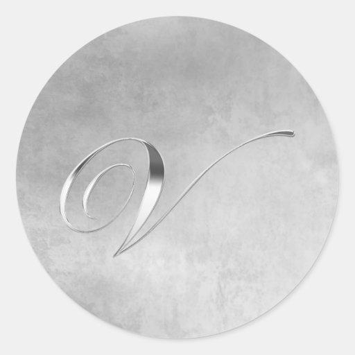 Elegant Silver Monogram V Sticker