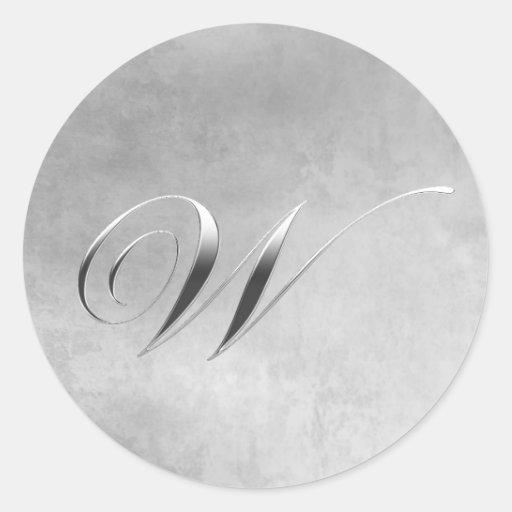 Elegant Silver Monogram W Round Sticker