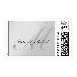 Elegant Silver Monogram Wedding Postage