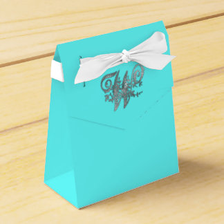 Elegant Silver Ornate Monogram W Party Favor Boxes