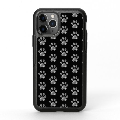 Elegant Silver Paw Pattern OtterBox iPhone Case