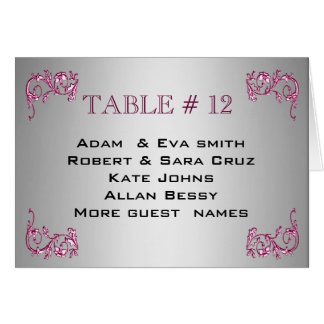 Elegant SILVER PINK able number template wedding Cards