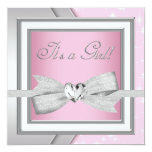 Elegant Silver Pink Baby Girl Shower Announcements