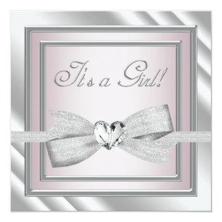 Elegant Silver Pink Baby Girl Shower Card