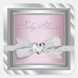 Elegant Silver Pink Baby Shower Stickers