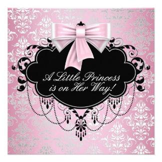 Elegant Silver Pink Black Princess Baby Shower Personalized Invites