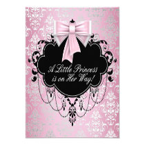 "Elegant Silver Pink Black Princess Baby Shower 5.25"" Square Invitation Card"