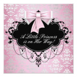 Elegant Silver Pink Black Princess Baby Shower Personalized Invites