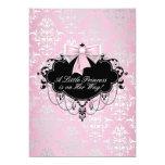 Elegant Silver Pink Black Princess Baby Shower Invitation