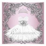 Elegant Silver Pink Quinceanera Invitations