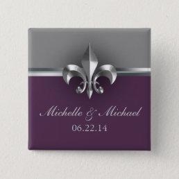 Elegant Silver Purple Fleur de Lis Button