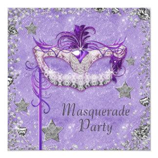 Elegant Silver Purple Masquerade Party Card