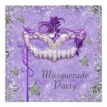 Elegant Silver Purple Masquerade Party Personalized Invitations