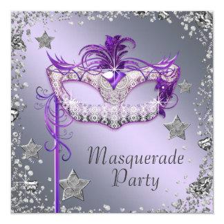 """Elegant Silver Purple Masquerade Party 5.25"""" Square Invitation Card"""