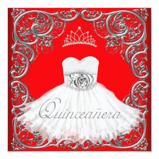 Elegant Silver Red Quinceanera Invitations