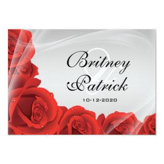 Elegant Silver & Red Rose Wedding Invitations