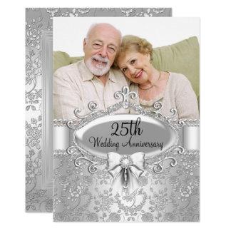 Elegant Silver Rose Photo 25th Anniversary Invite