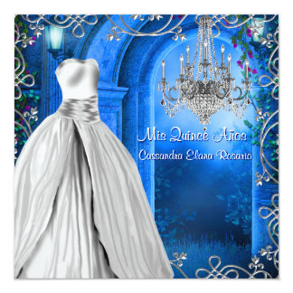 Elegant Silver Royal Navy Blue Quinceanera Card