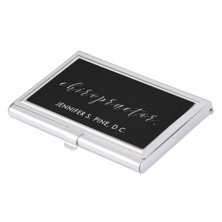 Elegant Silver Script Chiropractor Case For Business Cards