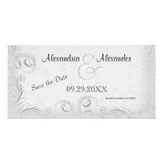 Elegant Silver Scrollwork Save The Date Reminder Photo Cards