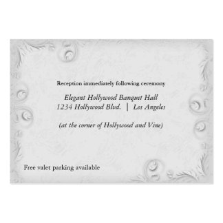 Elegant Silver Scrollwork Wedding Reception Card Large Business Cards (Pack Of 100)