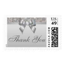 Elegant Silver Sequins Bow Wedding Thank You Postage