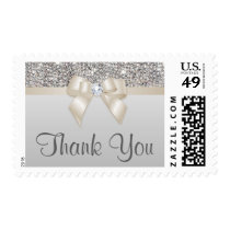 Elegant Silver Sequins Champagne Bow Thank You Postage