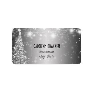 Elegant Silver Shimmering Stars Christmas Tree Label