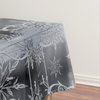 Elegant Silver Snowflakes Christmas Tablecloth